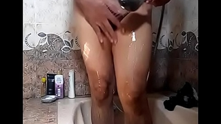 Bathing Desi Babe Showing her cute curves pressing Boobs &amp_ playing with Nipple