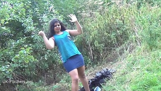 Indian amateur bbw Kikis public flashing and outdoor voyeur masturbation with a