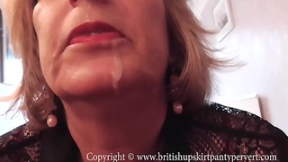 British Rosemary lets the Panty Pervert cum in her mouth.