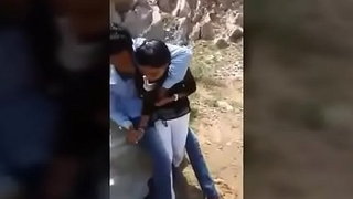 Indian college girl outdoor kissing by her bf